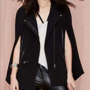 Bethany Mota Black Cape With Faux Leather Collar